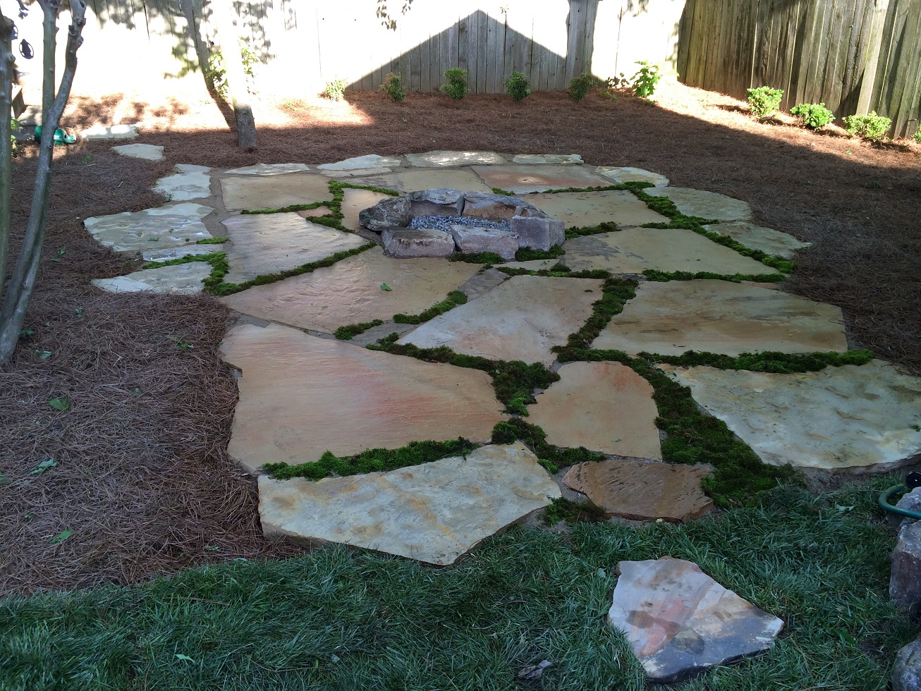 Flagstone and Firepit Landscaping Ideas - Residential Landscaping Ideas
