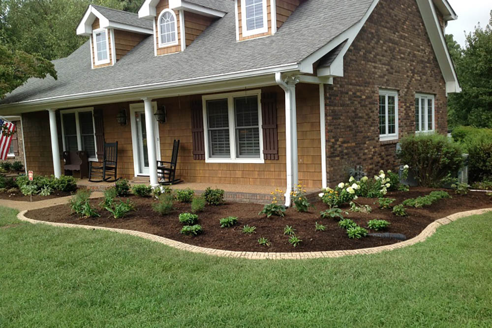 Mulched Bed With Brick Edge