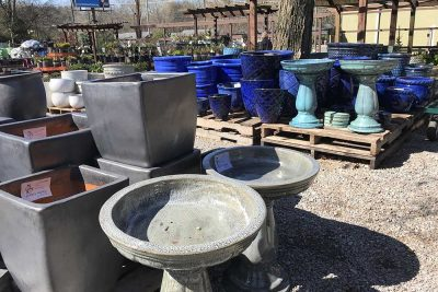 Multicolored Outdoor Pottery And Bird Baths At JVI